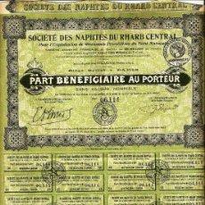 Coleccionismo Acciones Extranjeras: SOCIÉTÉ DES NAPHTES DU RHARB CENTRAL. Lote 33493624