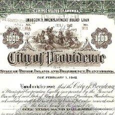 Coleccionismo Acciones Extranjeras: STATE OF RHODE ISLAND BOND 1000 $ 1935. Lote 33628309