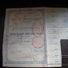 Coleccionismo Acciones Extranjeras: ACCIÓN SOIE DE CHARDONNET. Lote 34154740