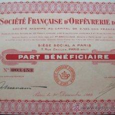 Coleccionismo Acciones Extranjeras: ACCION SOCIÉTÉ FRANÇAISE D'ORFEVRERIE D'ART.SOCIÉTÉ ANONYME.(1922).. Lote 34179220