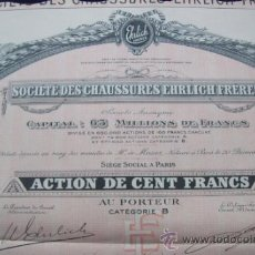 Coleccionismo Acciones Extranjeras: ACCIONES (3).SOCIÉTÉ DES CHAUSSURES EHRLICH FRÈRES.SOCIÉTÉ ANONYME (1923).. Lote 34186073