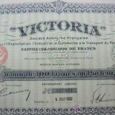 Coleccionismo Acciones Extranjeras: 5 ACCIONES VICTORIA .SOCIÉTÉ ANONYME. (1930).. Lote 34186492