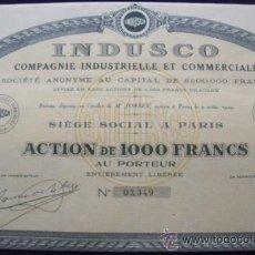 Coleccionismo Acciones Extranjeras: 5 ACCIONES INDUSCO. COMPAGNIE INDUSTRIELLE ET COMMERCIALE. (1929).. Lote 34186712