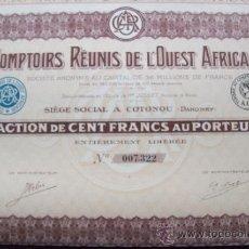 Coleccionismo Acciones Extranjeras: ACCIÓN. COMPTOIRS RÉUNIS DE L'OUEST AFRICAIN.(1929).. Lote 34194759