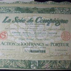 Coleccionismo Acciones Extranjeras: ACCIONES (3). LA SOIE DE COMPIÈGNE.(1923).. Lote 34195248