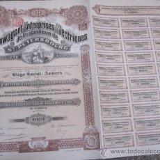 Coleccionismo Acciones Extranjeras: ACCION TRAMWAYS ET ENTERPRISESELECTRIQUES, SANT PETERSBOURG -BELGICA 1912 CUPONES 50X38 - R6. Lote 34238023