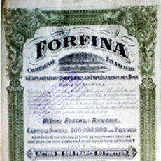 Coleccionismo Acciones Extranjeras: ACCION BELGICA 1929.- CIA. FINANCIERA DE EXPLOTACION FORESTAL 500 FR. COLOR VERDE Y NEGRO. Lote 30181033