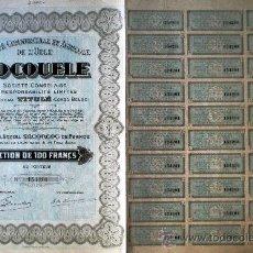 Coleccionismo Acciones Extranjeras: 1927.-SOCIETE COMERCIAL ET AGRICOLE DE L'UELE -SOCOULE- S.L. COMPLETA CON CUPONES.. Lote 34941074