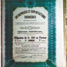 Coleccionismo Acciones Extranjeras: 1928.- ENTREPRISES ET EXPLOTATIONS SUCRIERES, S.A. CON CUPONES. COLOR SEPIA Y VERDE. Lote 34953685