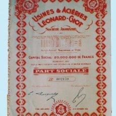 Coleccionismo Acciones Extranjeras: 1944. ACCION BELGA -USINES & ACIERIES LEONARD-GIOT, S.A. CON 5 CUPONES.REV. ESTATUTOS.. Lote 35016871