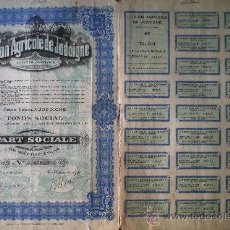 Coleccionismo Acciones Extranjeras: 1927.- PARTICIPACION SOCIAL DE -L'UNION AGRICOLE DE JODOIGNE, S.A..COMPLETA CON CUPONES.. Lote 35059360