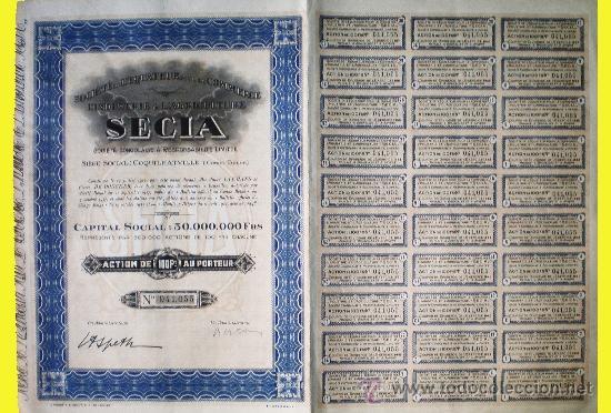 1927.- SOCIETE DE L'EQUATEUR POUR LE COMMERCE L'INDUSTRIE & L'AGRICULTURE. COMPLETA. NUEVA.SECIA. (Coleccionismo - Acciones Internacionales)