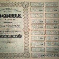 Coleccionismo Acciones Extranjeras: 1927. ACCION SOCIETE COMMERCIALE ET AGRICOLE DE L'UELE -SOCOULE- COMPLETA CON CUPONES.. Lote 35059621