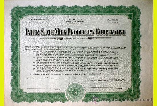 CERTIFICADO DE PARTICIPACION DE -INTER-STATE MILK PRODUCERS COOPERATIVE- PENNSYLVANIA .NUEVA. (Coleccionismo - Acciones Extranjeras )