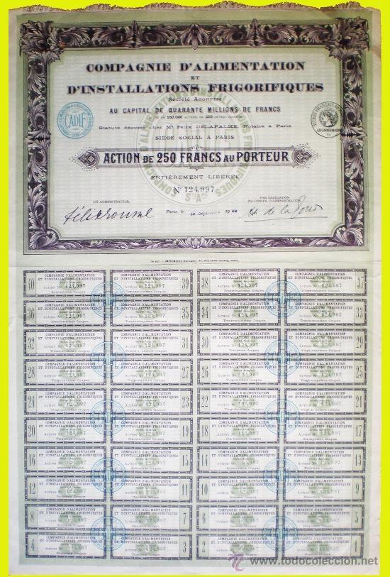 1920.ACCION FRANCESA -CIE. D'ALIMENTATION ET D'INSTALLATIONS FRIGORIFIQUES S.A.- COMPLETA (Coleccionismo - Acciones Internacionales)