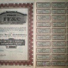 Coleccionismo Acciones Extranjeras: 1928.- ACCION CONGOLESA -INDUSTRIES ET TRANSPORTS AUTOMOBILES AU CONGO.ITAC- COMPLETA CON CUPONES.. Lote 35067127