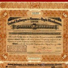 Coleccionismo Acciones Extranjeras: ACCION FERROCARRIL UNITED RAILWAYS, HAVANA REGLA, 100 LIBRAS , CUBA 1928 ,ORIGINAL, J45. Lote 35173385