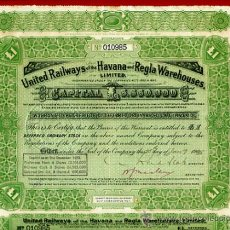 Coleccionismo Acciones Extranjeras: ACCION FERROCARRIL UNITED RAILWAYS, HAVANA REGLA, 1 LIBRA , CUBA 1928 ,ORIGINAL, J46. Lote 35173399