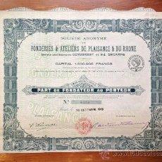 Coleccionismo Acciones Extranjeras: ACCIÓN FONDERIES & ATELIERS DE PLAISANCE & DU RHONE. 1918. PARIS. FRANCIA. Lote 35621905