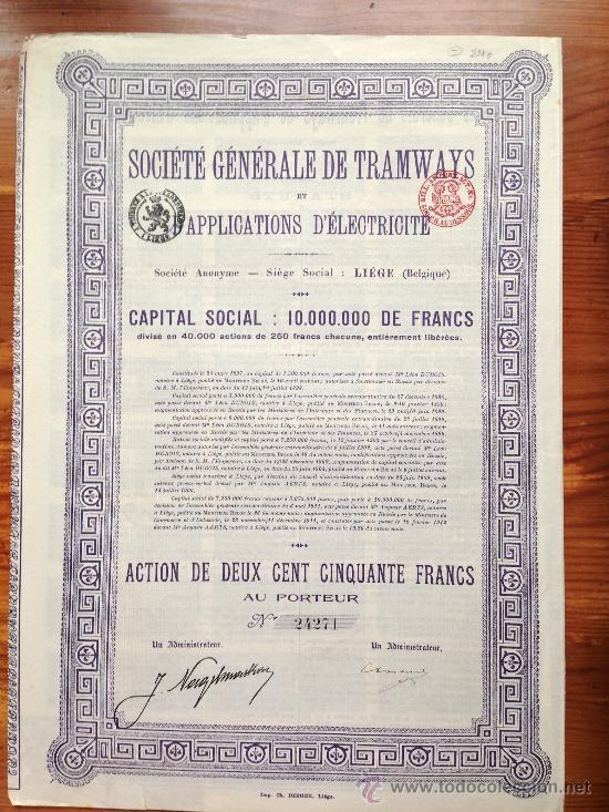 ACCIÓN SOCIETE GENERALE DE TRAMWAYS. 1912. BELGICA. (Coleccionismo - Acciones Internacionales)