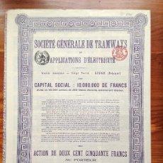 Coleccionismo Acciones Extranjeras: ACCIÓN SOCIETE GENERALE DE TRAMWAYS. 1912. BELGICA. . Lote 35622549