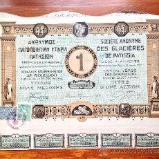 Coleccionismo Acciones Extranjeras: ACCIÓN SOCIETE ANONYME DES GLACIERES DE PATISSIA. 1922. ATENAS. GRECIA. Lote 35626126