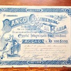 Coleccionismo Acciones Extranjeras: ACCIÓN BANCO COMMERCIAL DA BAHIA. BANCO EMISSOR DA BAHIA. BRASIL. Lote 35626758
