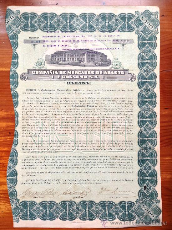 ACCIÓN COMPAÑÍA DE MERCADOS DE ABASTO Y CONSUMO S.A. 1919. HABANA. CUBA (Coleccionismo - Acciones Internacionales)