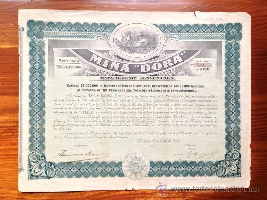 ACCIÓN MINA 'DORA' S.A. HABANA, 1917. CUBA (Coleccionismo - Acciones Extranjeras )