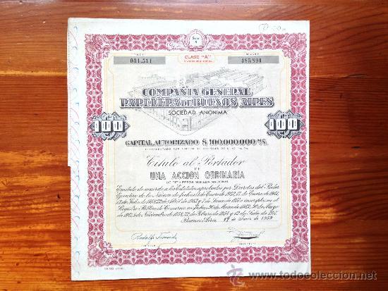 ACCIÓN COMPAÑÍA GENERAL PAPELERA DE BUENOS AIRES S.A. BUENOS AIRES, 1959. ARGENTINA (Coleccionismo - Acciones Extranjeras )