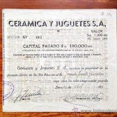 Coleccionismo Acciones Extranjeras: ACCIÓN CERAMICA Y JUGUETES S.A. LIMA, 1951. PERÚ. Lote 35627180