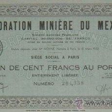 Coleccionismo Acciones Extranjeras: MINAS: CORPORATION MINIÈRE DU MEXIQUE / CORPORACIÓN MINERA DE MÉXICO (1923). Lote 35714581