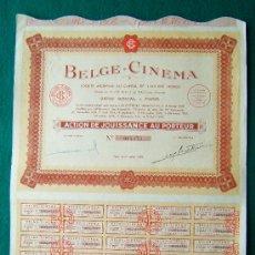 Coleccionismo Acciones Extranjeras: ACCIONES. BELGE-CINEMA - PARIS - COMPLETA - 40 X 31 CM. - 1938. Lote 35737416