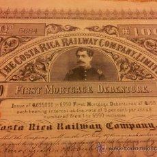 Coleccionismo Acciones Extranjeras: ACCION - OBLIGACION FERROCARRILES COSTA RICA - 100 LIBRAS - 1888. Lote 36647983