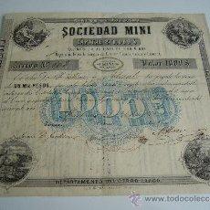 Coleccionismo Acciones Extranjeras: ACCIÓN DE URUGUAY SOCIEDAD MINI. RINCÓN DE TACUARI. MONTEVIDEO 1869. Lote 36907209