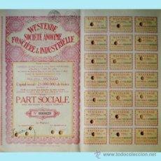 Coleccionismo Acciones Extranjeras: 1931.-PART SOCIALE S/DESIG. DE VALOR, CAPITAL 25.000.000 FR. DE WESTENDE S.A. FONCIERE & INDUSTRIEL. Lote 37081542