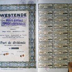 Coleccionismo Acciones Extranjeras: 1939.- PART DE DIVIDENDE, CAPITAL 15.000.000 FR. DE WESTENDE S.A., FONCIERE & INDUSTRIELLE.. Lote 37081952