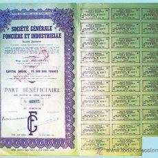Coleccionismo Acciones Extranjeras: 1944.- TITULO PART BENEFICIERE SIN NOMINAL DE SOCIETE GENERALE FONCIERE ET INDUSTRIELLE, S.A. Lote 37086910