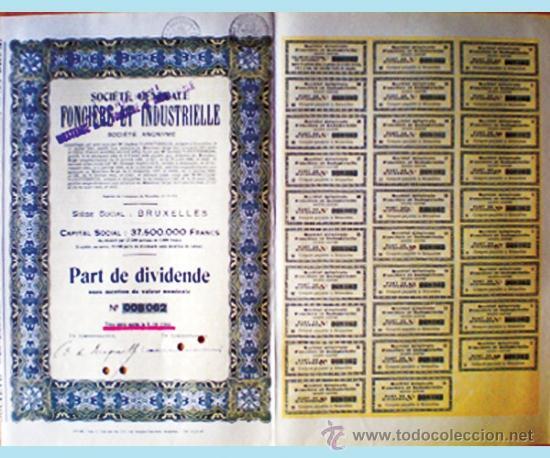 1944.-BELGICA.TITULO PART DIVIDENDE SIN NOMINAL DE SOCIETE GENERALE FONCIERE ET INDUSTRIELLE, S.A. (Coleccionismo - Acciones Internacionales)