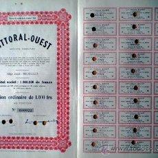 Coleccionismo Acciones Extranjeras: 1947- BELGICA.- ACTION ORDINAIRE DE 1000 FR. DE LITORAL– OUEST, S.A. COMPLETA CON 30 CUPONES.. Lote 37143034