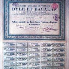 """Coleccionismo Acciones Extranjeras: 1912.- ACTION ORDINAIRE DE 300 FR. DE SOCIETE ANONYME DE TRAVAUX """"DYLE ET BACALAN"""". . Lote 37176292"""