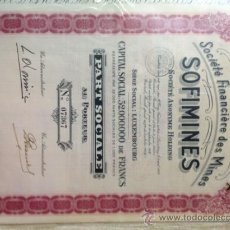 Coleccionismo Acciones Extranjeras: ACCIONES DE SOCIEDAD FRANCESA DE MINAS. Lote 37432299