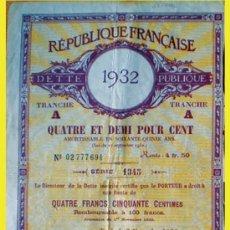 Coleccionismo Acciones Extranjeras: 1932.- DEUDA PUBLICA DE LA REPUBLIQUE FRANCAIS DE 1.000 FRANCOS . Lote 37479643