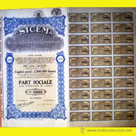 "1925.-PART SOCIALE FUNDADOR ""SICEM"" LA SOCIETÉ INDUSTRIELLE E COMMERCIALE ELECTRO MECANIQUE,S.A. (Coleccionismo - Acciones Extranjeras )"