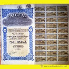 "Coleccionismo Acciones Extranjeras: 1925.-PART SOCIALE FUNDADOR ""SICEM"" LA SOCIETÉ INDUSTRIELLE E COMMERCIALE ELECTRO MECANIQUE,S.A.. Lote 37608238"