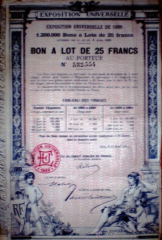 """1889.-BONO DE 25 FR. AL PORTADOR PARA FINANCIAR """"EXPOSITION UNIVERSELLE DE 1890 DE PARIS"""". (Coleccionismo - Acciones Internacionales)"""