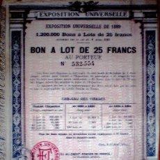 """Coleccionismo Acciones Extranjeras: 1889.-BONO DE 25 FR. AL PORTADOR PARA FINANCIAR """"EXPOSITION UNIVERSELLE DE 1890 DE PARIS"""".. Lote 37616178"""