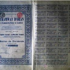 Coleccionismo Acciones Extranjeras: 1908.-ACTION DE DIVIDENDO SIN MENCIÓN DE VALOR DE COMPAGNIE DU TRAMWAY D'ORAN, S.A. . Lote 37619573