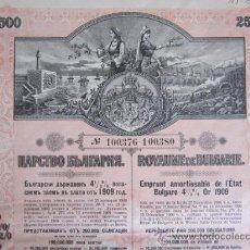 Coleccionismo Acciones Extranjeras: 1909. BONO REINO DE BULGARIA, 2500 FRANCOS DE ORO AL 4,5%. Lote 37654057