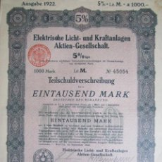 Coleccionismo Acciones Extranjeras: 1922. BONO ALEMANIA. 1000 MARCOS AL 5%. Lote 37654317